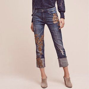 Pilcro and the Letterpress Hyphen Gold Sequin Jean